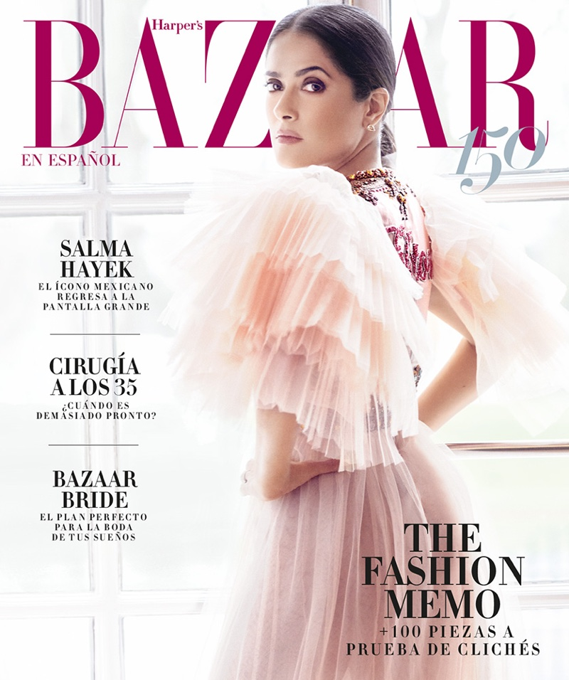Salma Hayek on Harper's Bazaar Mexico April 2017 Cover