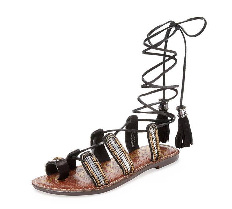 Sam Edelman Lasky Embellished Leather Lace-Up Sandal $110