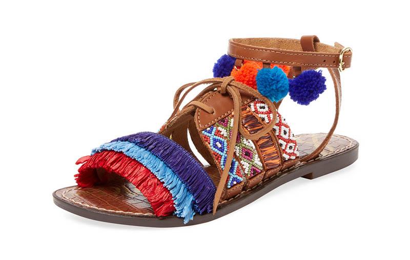 Sam Edelman Lennon Embroidered Leather Sandal $110