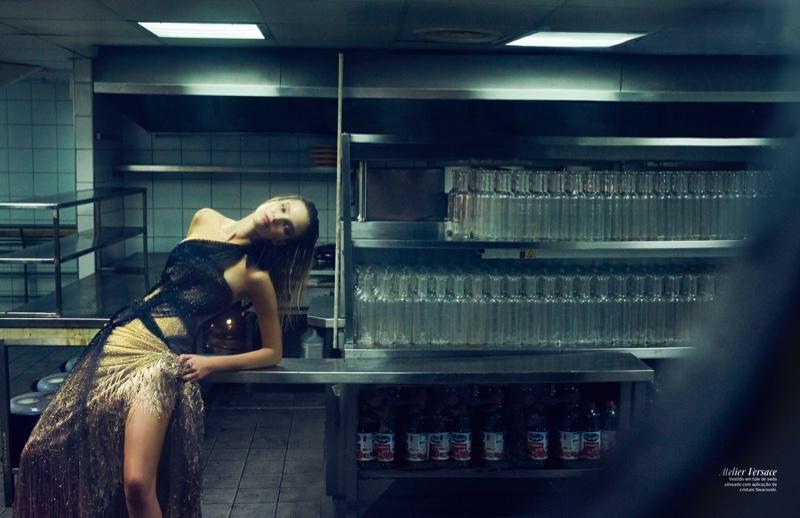 Sasha Luss models one-shoulder Atelier Versace gown with Swarovski crystals