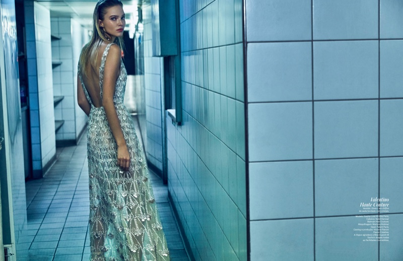Turning on the sparkle, Sasha Luss models Valentino Haute Couture gown