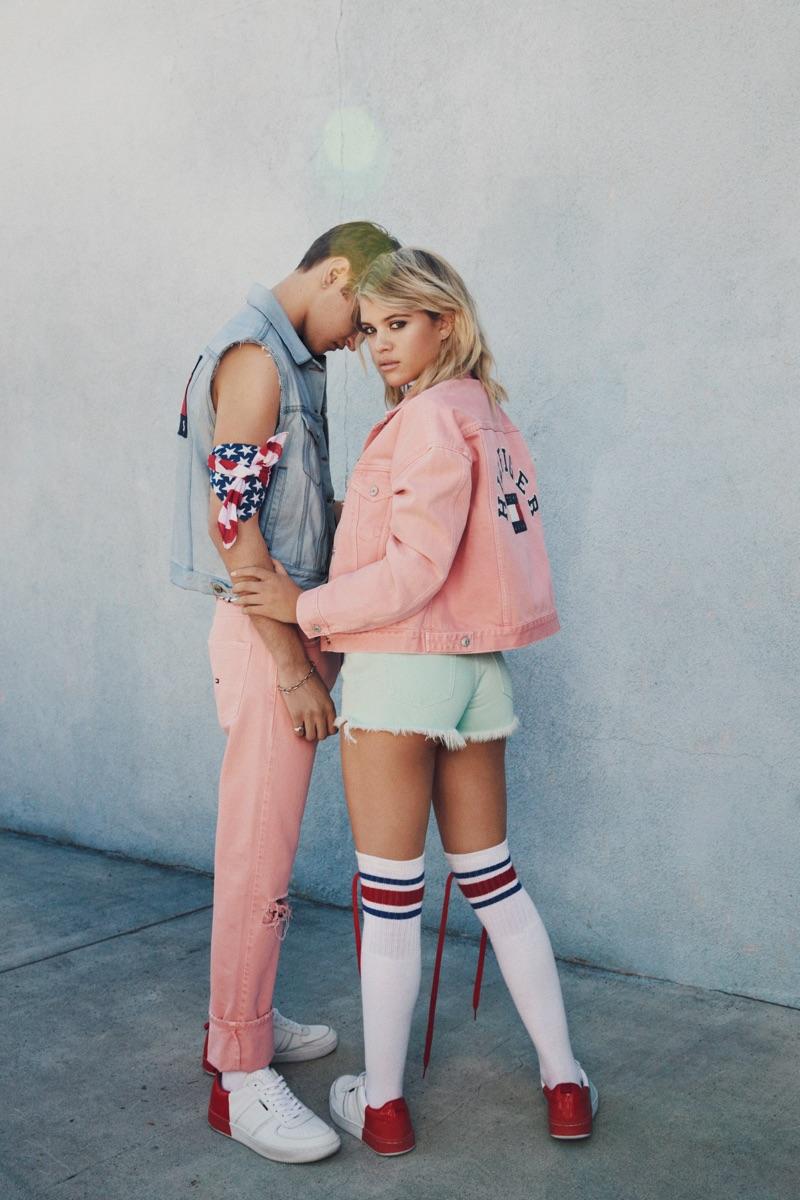 Social media star Sofia Richie wears Tommy Jeans Pastel Denim Jacket ($199.50) and Pastel Denim Short ($99.50)