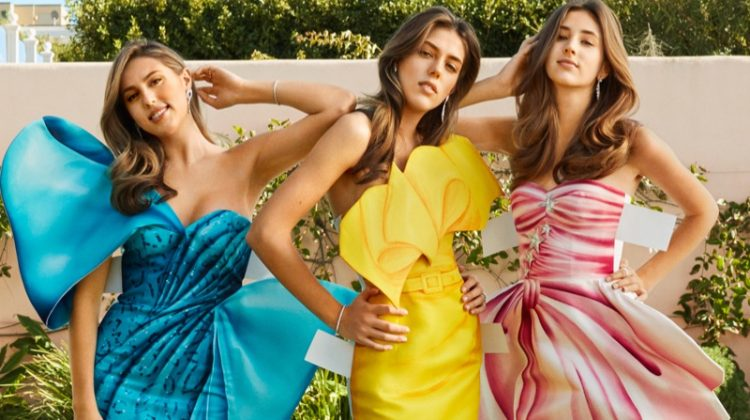 Sisters Sophia, Sistine and Scarlet Stallone make elegant visions in Moschino gowns
