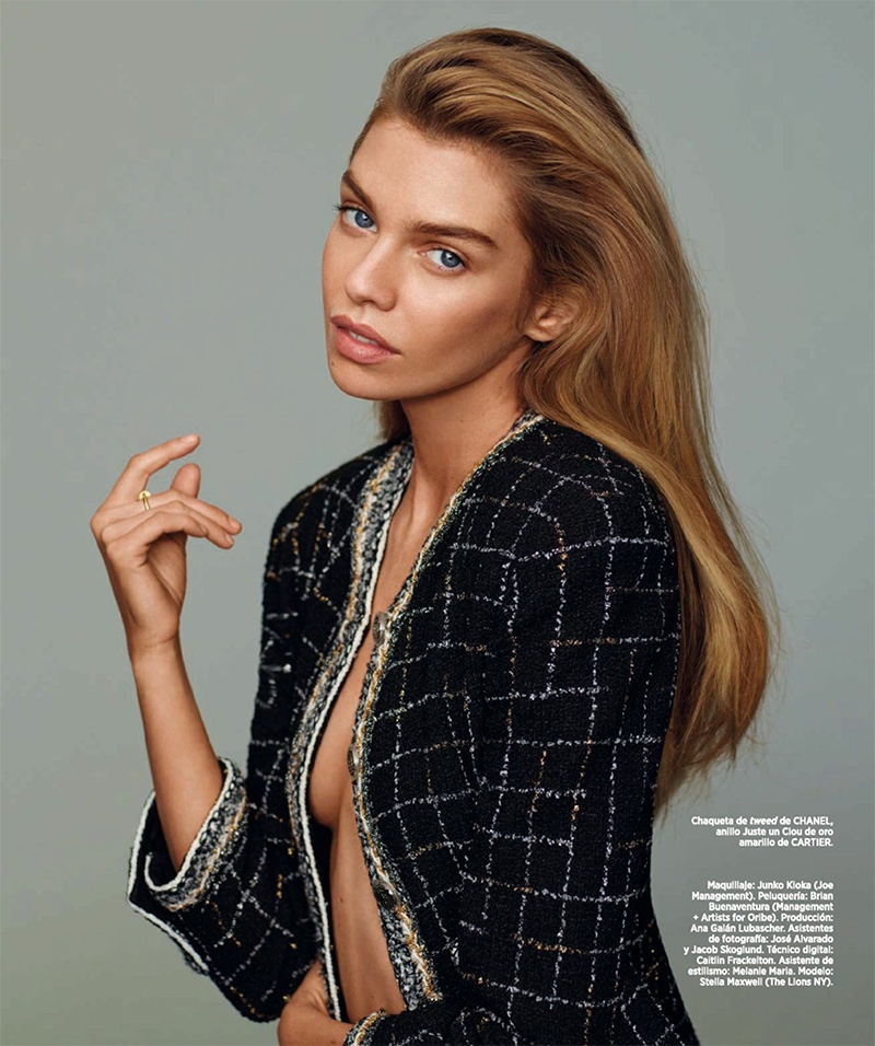 Stella Maxwell wears tweed Chanel jacket