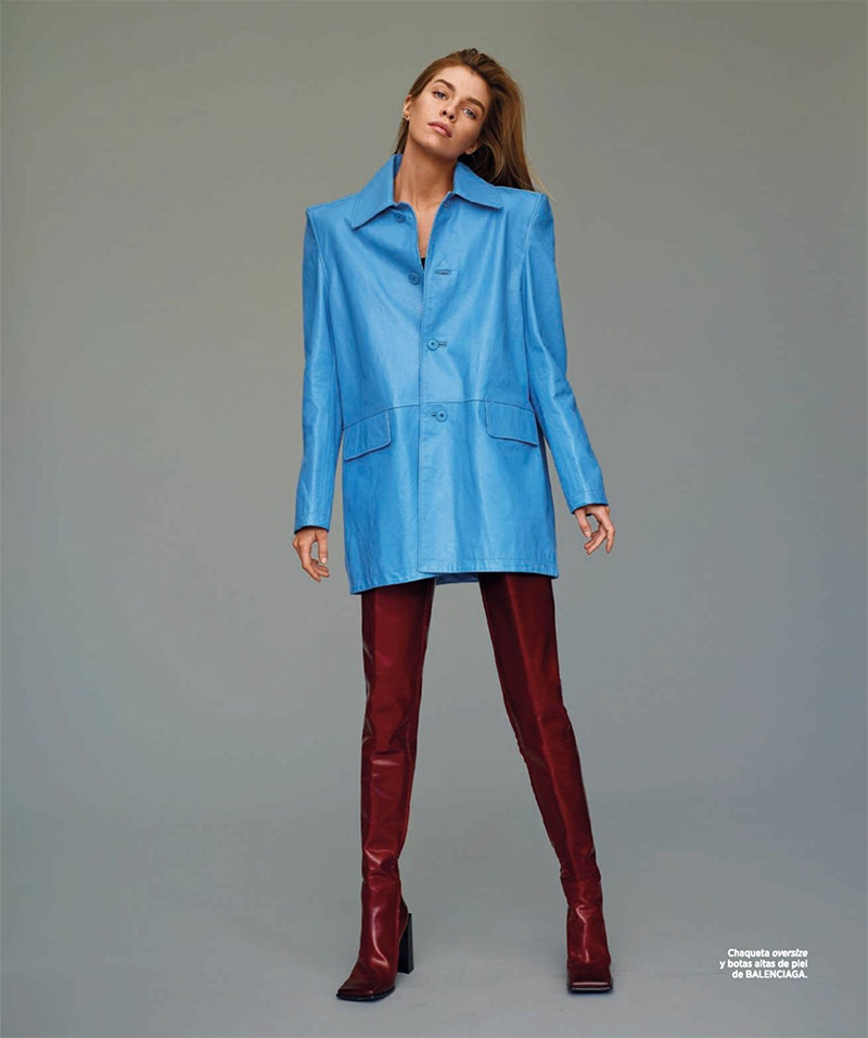 Stella Maxwell models oversized jacket and leather boots from Balenciaga
