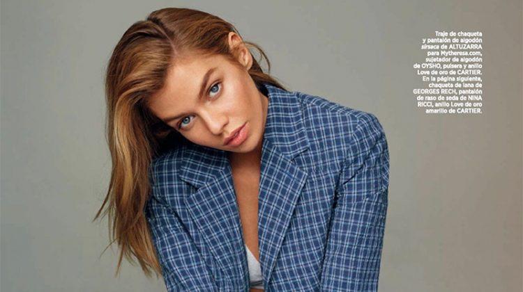 Suiting up, Stella Maxwell models Altuzarra jacket and pants