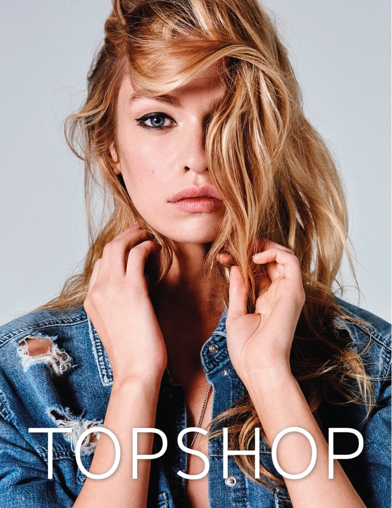 Stella Maxwell poses in ripped denim for Topshop Jeans' spring-summer 2017 campaign