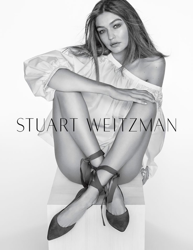 Gigi Hadid models Stuart Weitzman The Supersonic Flat