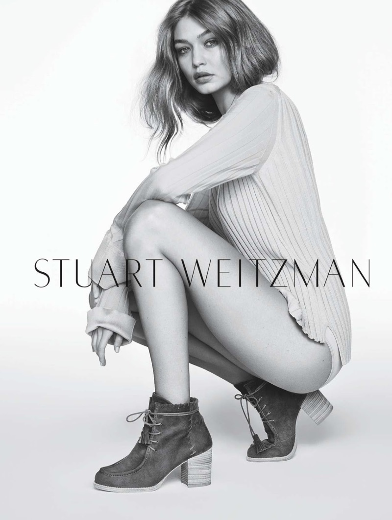 Striking a pose, Gigi Hadid wears Stuart Weitzman The Wallawalla Bootie