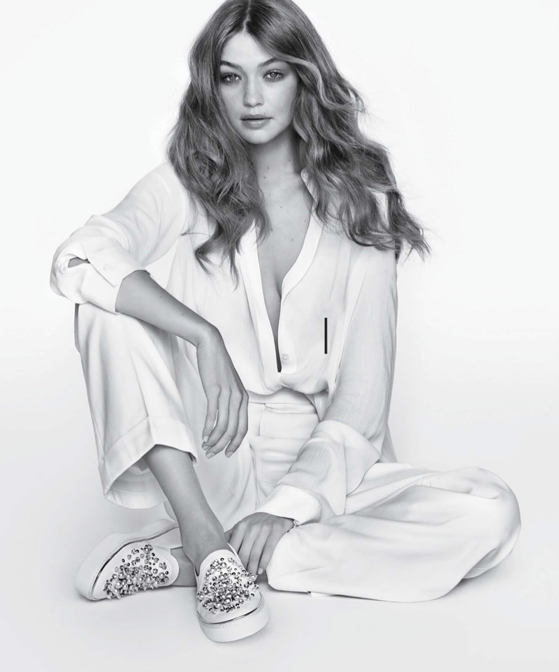 Gigi Hadid models Stuart Weitzman The Decor Sneaker