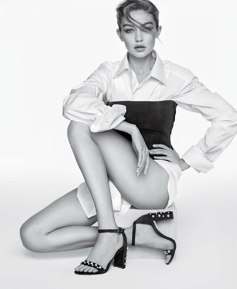 Model Gigi Hadid poses in The Morepearls Sandal from Stuart Weitzman
