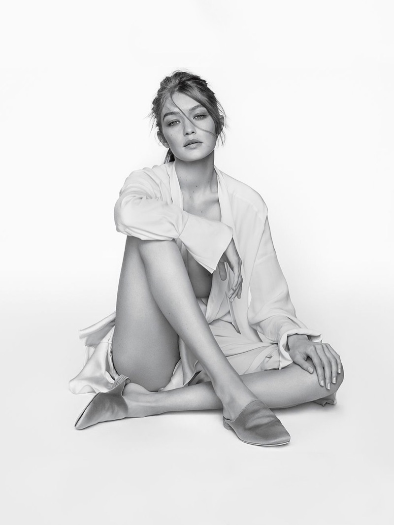 Keeping it casual, Gigi Hadid models Stuart Weitzman's The Mulearky Flat