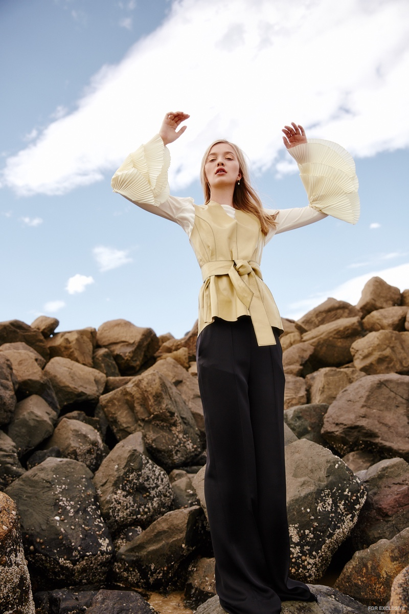 Isabelle Quinn Bell Sleeve Top, By Malene Berger Leather Top and Pants available at Christensen Copenhagen; Susan Driver Earring