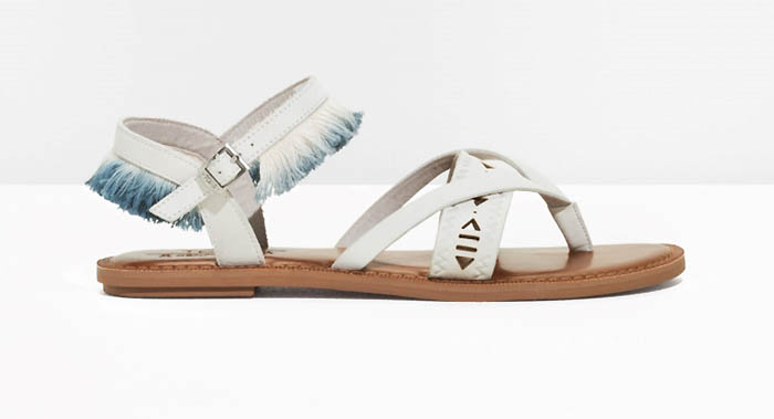 TOMS x & Other Stories Leather Fringe Lexie Sandals $115