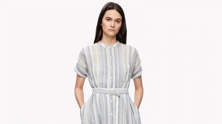 Theory Avinka Belted Stripe Shirt Dress