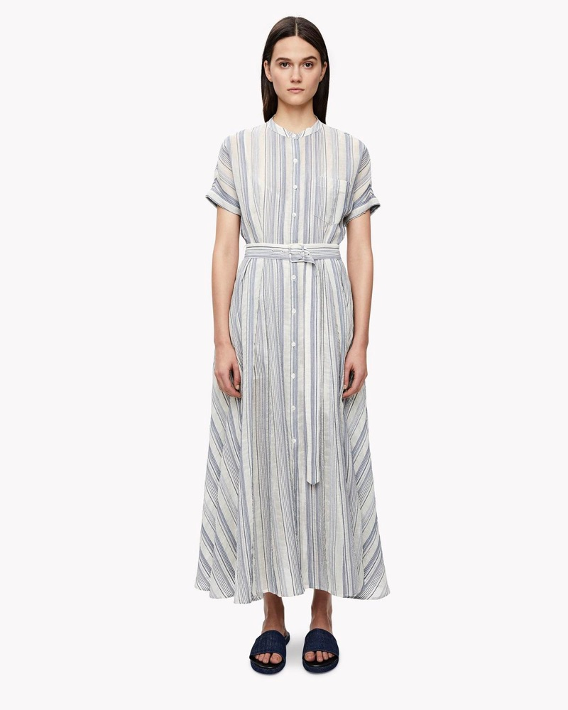 The Avinka Striped Shirt Dress includes cuffed sleeves and a belted waist