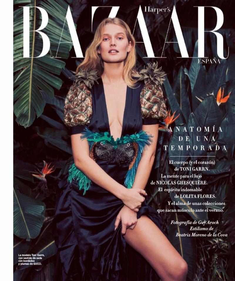 Flaunting some leg, Toni Garrn wears Gucci dress with sequins and feathers