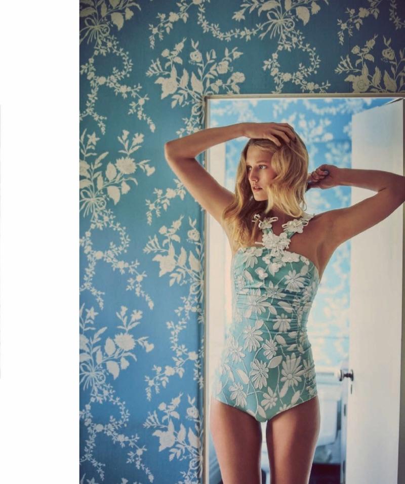 Looking true blue, Toni Garrn poses in Miu Miu jacquard swimsuit