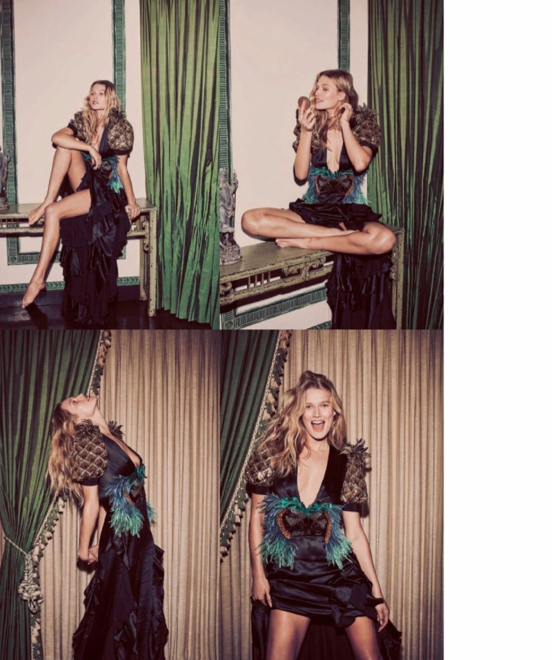 Turning up the charm, Toni Garrn models embellished Gucci gown