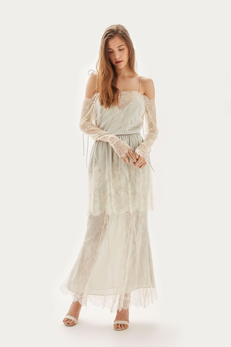 Topshop Bride Cutwork Lace Bardot Bridal Dress $850