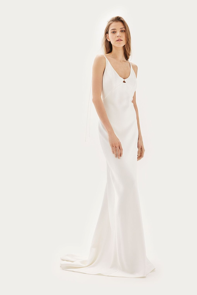 Topshop Bride Satin Tie Shoulder Dress $650