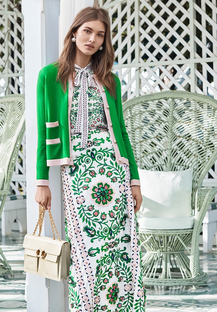 Tory Burch Kendra Cardigan, Kia Bow Blouse, Maine Skirt, Gemini Link Patent Chain Shoulder Bag and Pearl Drop Earring