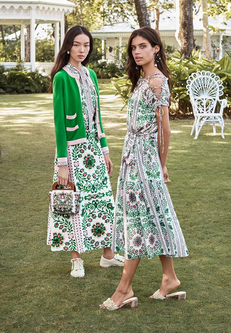Fei Fei Sun & Sara Sampaio Pose in Tory Burch's Garden Party Dresses