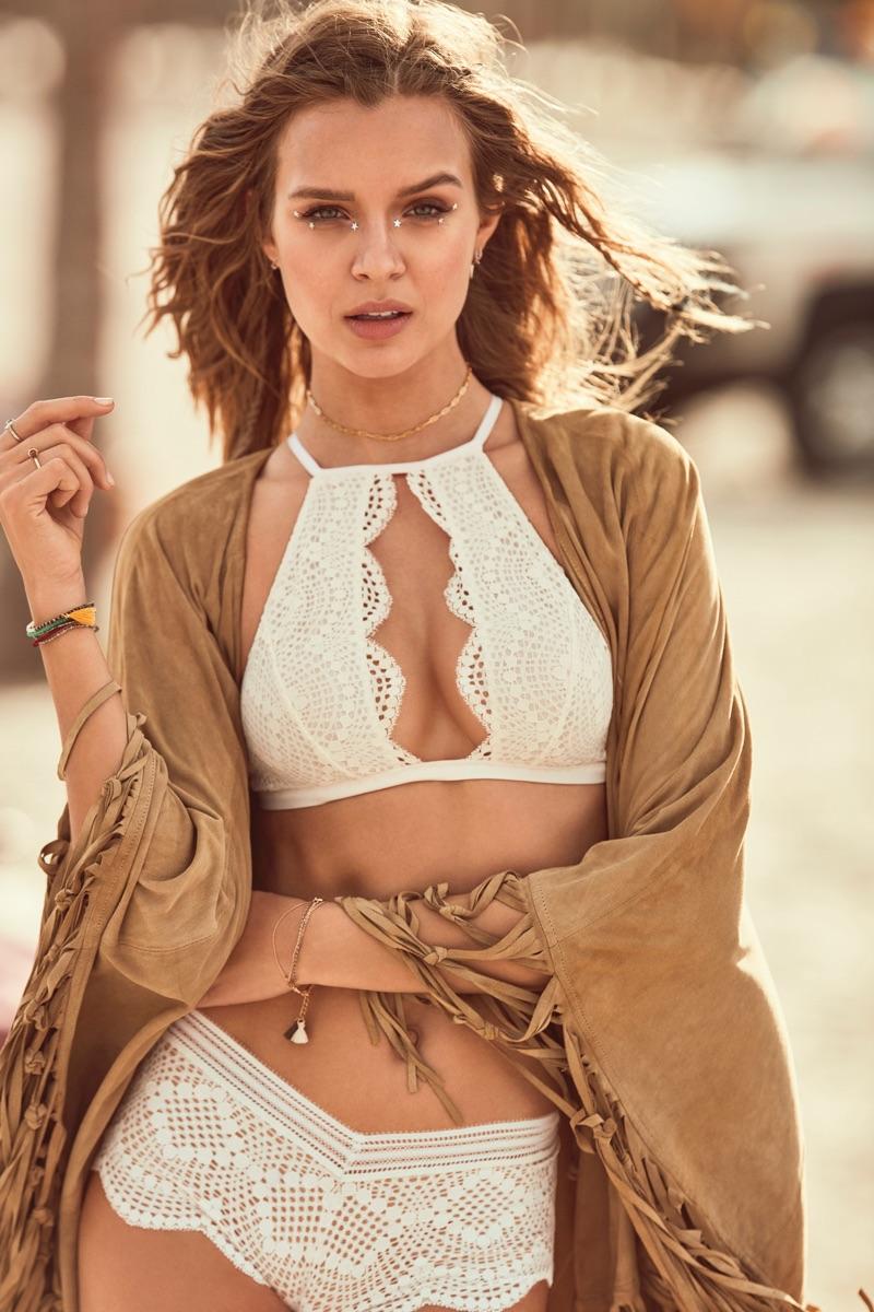 Josephine Skriver wears Victoria's Secret High-Neck Keyhole Bralette and Sexy Shortie