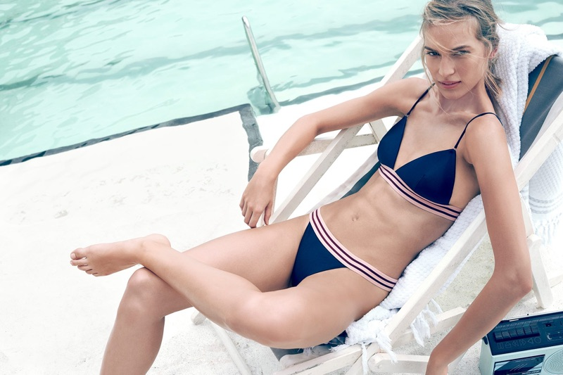 Vanessa Axente models Zimmermann Separates Elastic Tri Bra and Separates Skinny Elastic Pant
