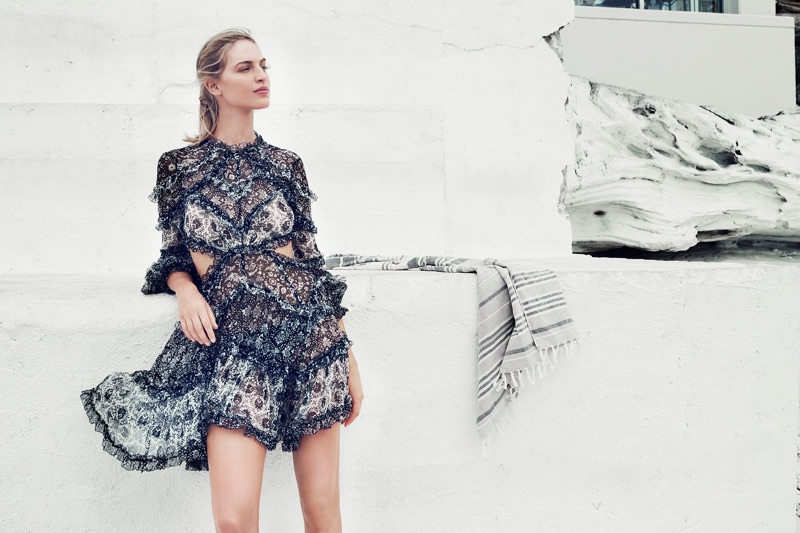 Vanessa Axente models Divinity Ruffle Dress
