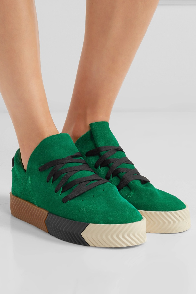 buy popular 92f6a 20654 adidas Originals by Alexander Wang Green Suede Sneakers 180
