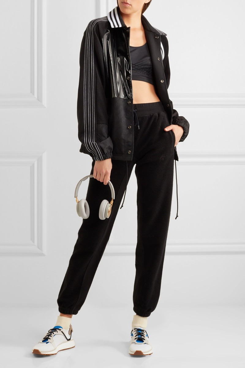 adidas Originals by Alexander Wang Patch Shell Stretch Jersey Faux Patent Leather Jacket $350