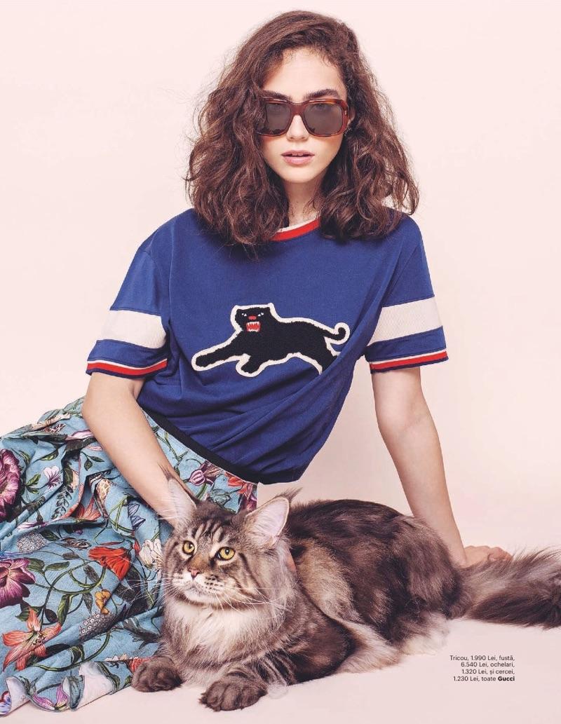 Ada Tache is the Cat's Meow in Gucci for Harper's Bazaar Romania