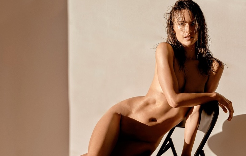 Stripping down, Alessandra Ambrosio poses naked in this sexy shot