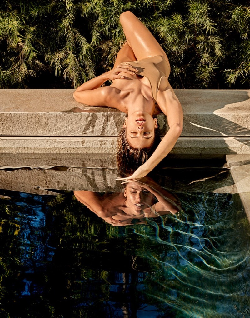 Model Alessandra Ambrosio poses in Lanvin swimsuit