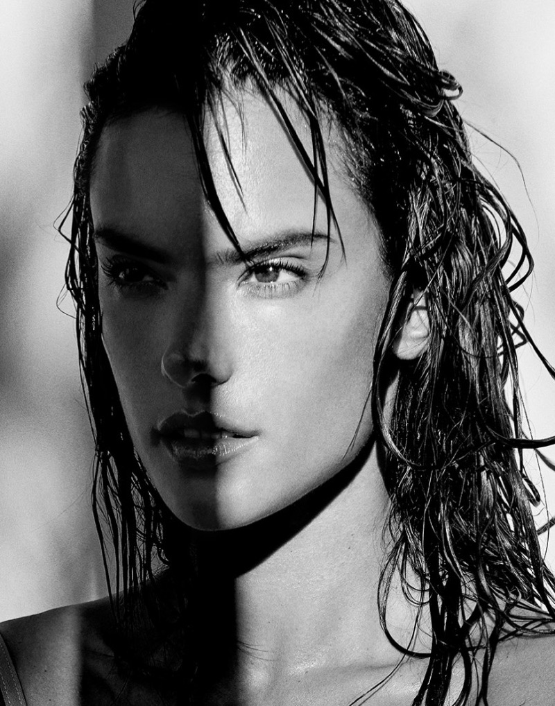 Model Alessandra Ambrosio gets her closeup in black and white shot