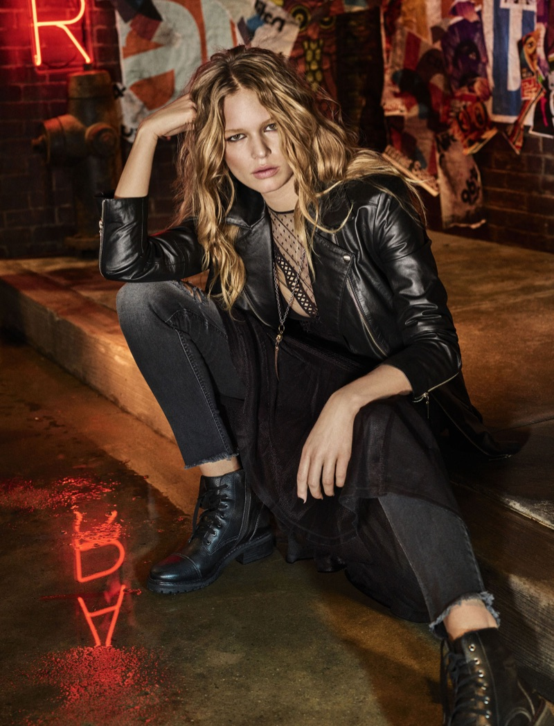 Decked out in leather, Anna Ewers appears in Colcci's fall 2017 advertising campaign