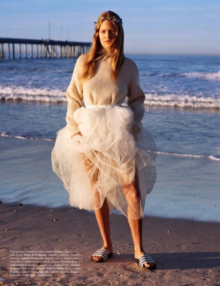 Anna Ewers Dresses in White for Vogue Paris Editorial