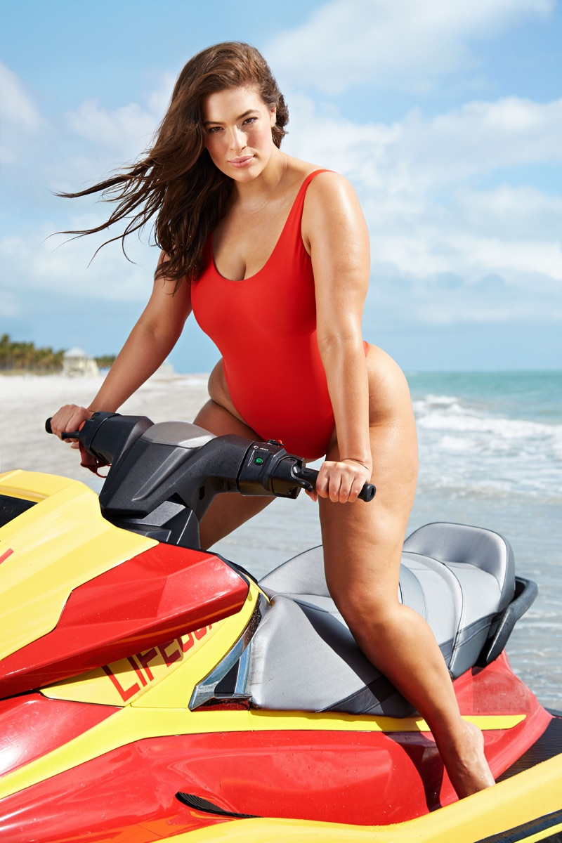 Ashley Graham looks sexy in red for Swimsuits For All Baywatch campaign