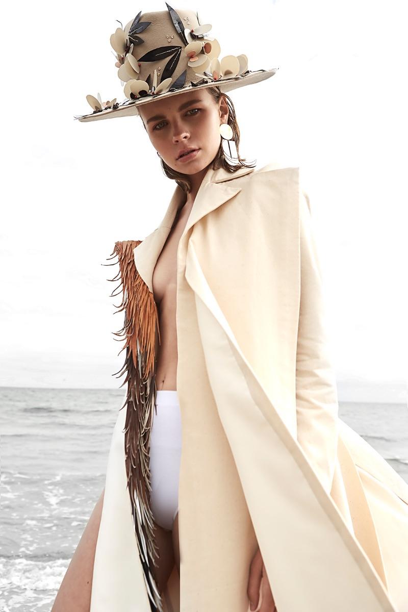 Sarah Hope Schofield Coat and Hat, Marieyat Underwear, Uncommon Matters Earrings