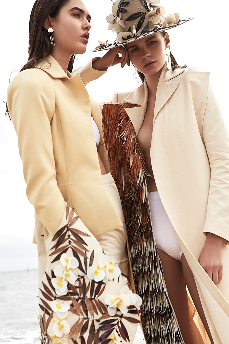 (Left) Sarah Hope Schofield Coat, Pants and Stole; Marieyat Underwear and Uncommon Matters Earrings (Right) Sarah Hope Schofield Coat and Hat, Marieyat Bra Top, Uncommon Matters Earrings