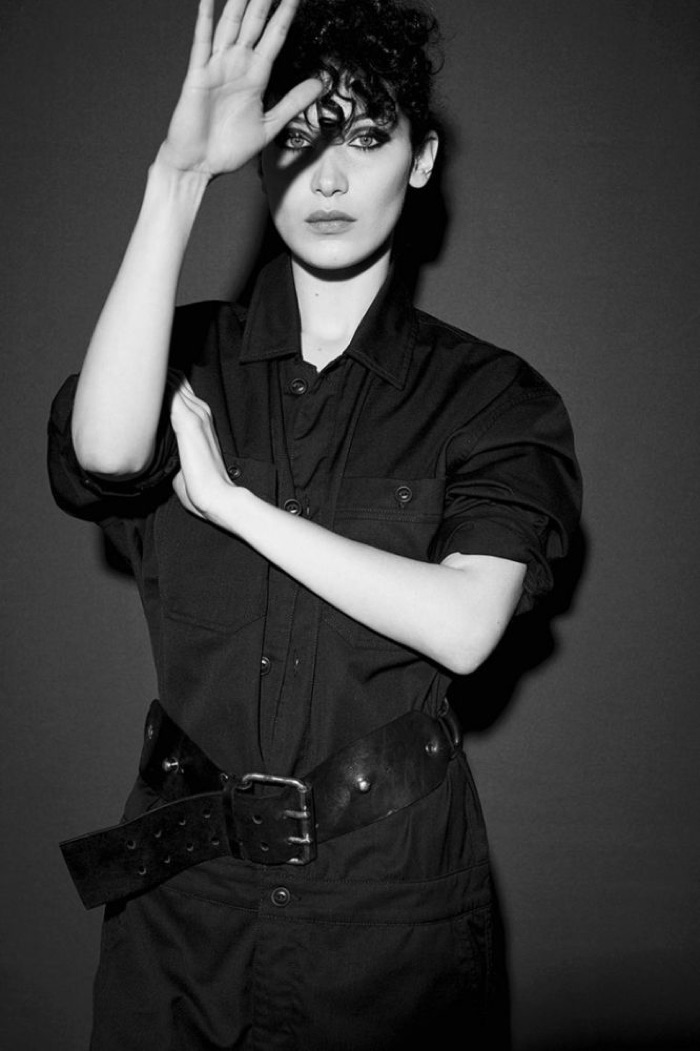 Captured in black and white, Bella Hadid wears jumpsuit