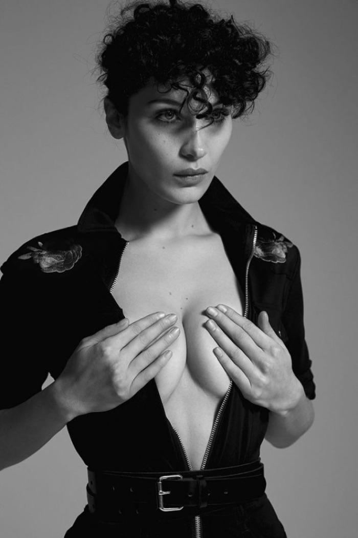 Model Bella Hadid smolders in zippered look