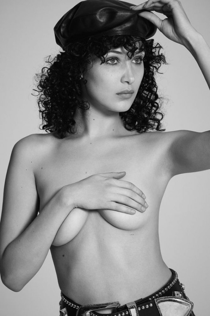Bella Hadid poses topless in this image