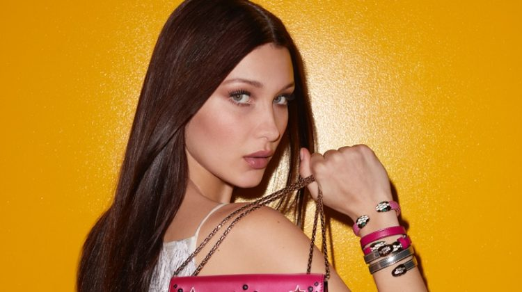 Model Bella Hadid poses with the Serpenti bag in Bulgari's fall 2017 accessories campaign