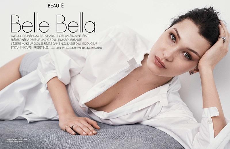 Model Bella Hadid poses in Ellery shirt with Dior culotte