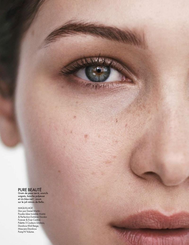 Bella Hadid's skin looks flaw free with Dior makeup