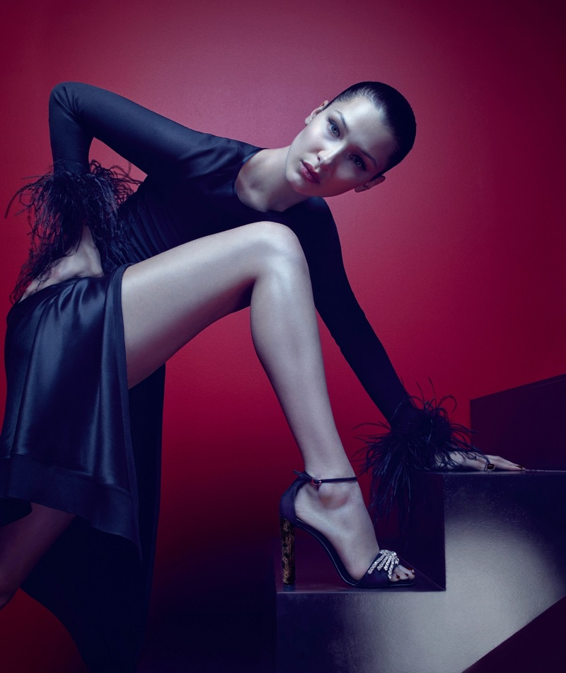 Bella Hadid wears the Sabine sandal in Giuseppe Zanotti's fall-winter 2017 campaign
