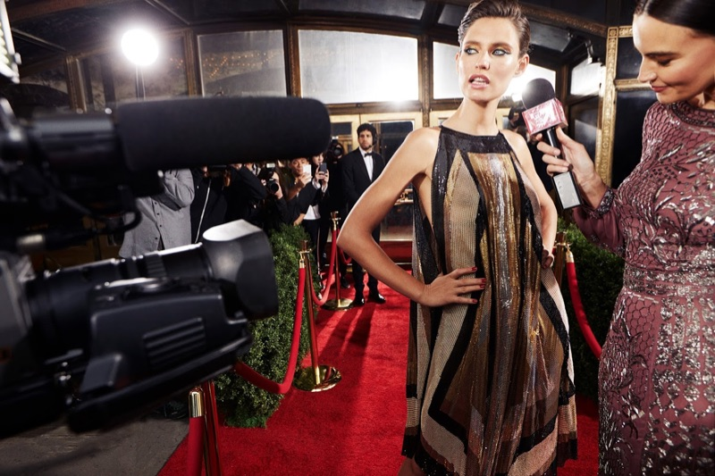 Bianca Balti wows on the red carpet wearing a Balmain maxi dress