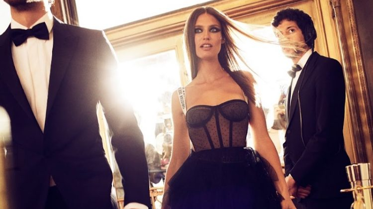 Stealing the scene, Bianca Balti models Dior gown with bustier